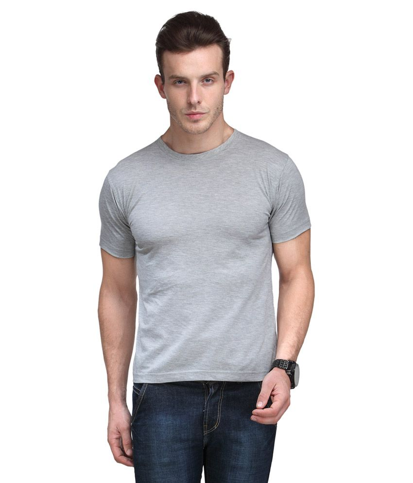 Scott International Grey Cotton Poly Viscose  Regular Fit T Shirt