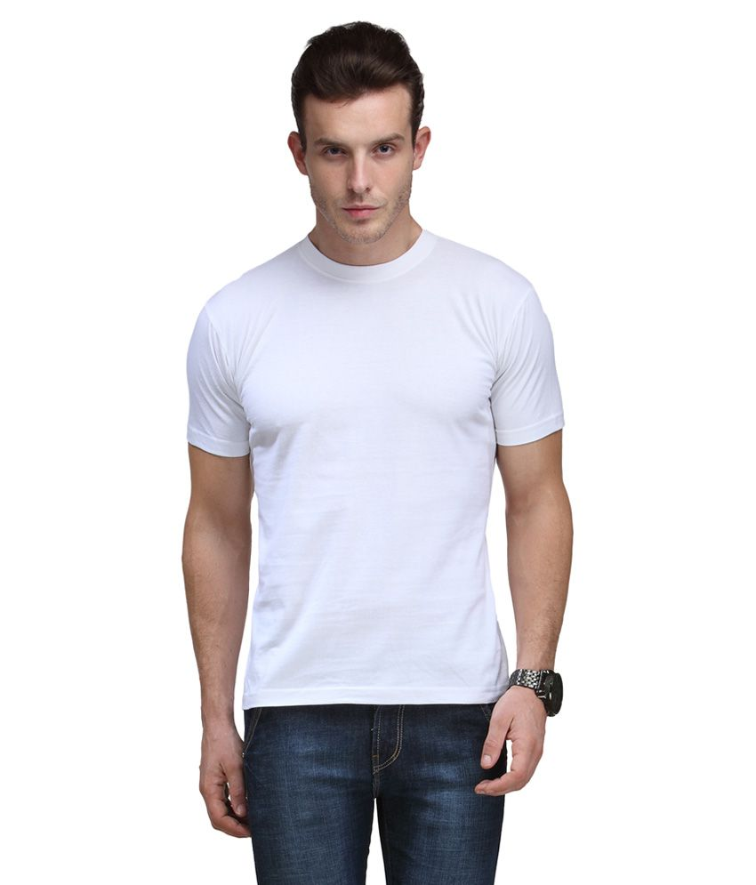 Scott International White Cotton Poly Viscose Regular Fit T Shirt