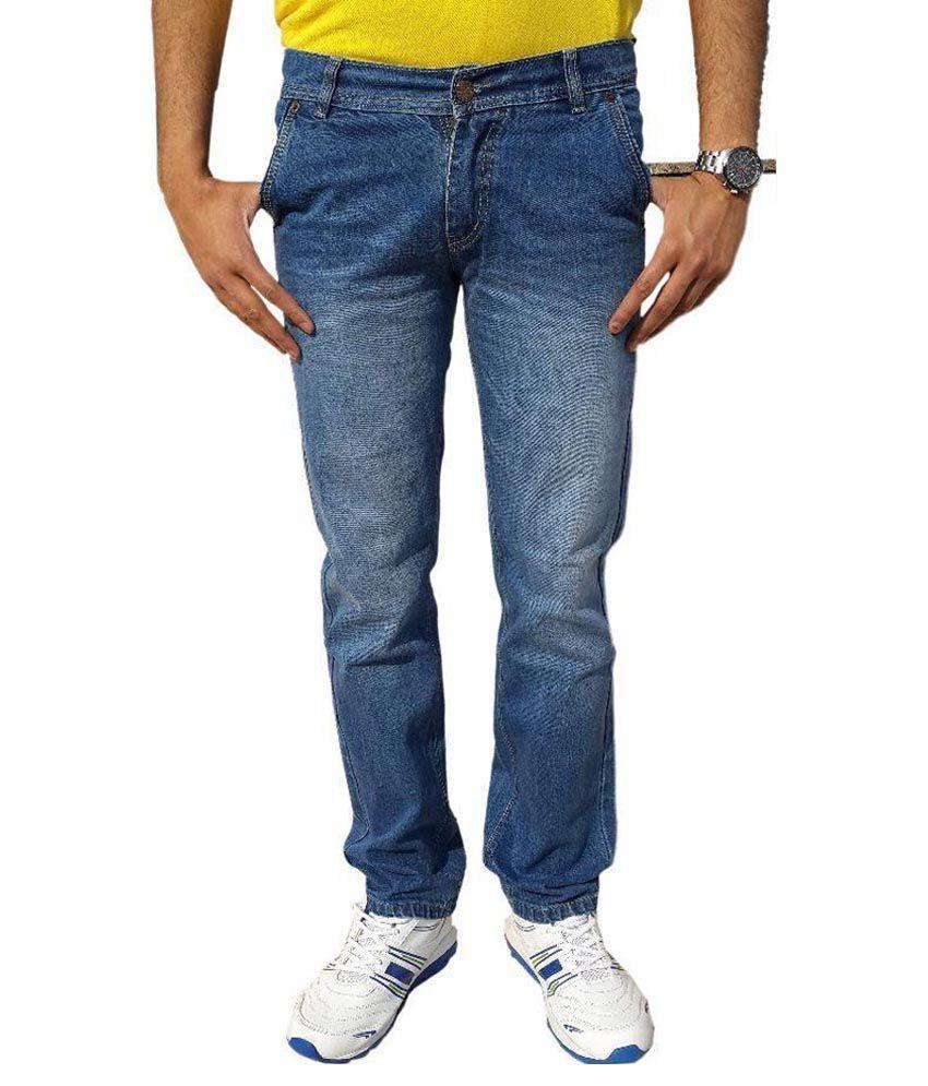 UK Blue Blue Slim Fit Faded Jeans