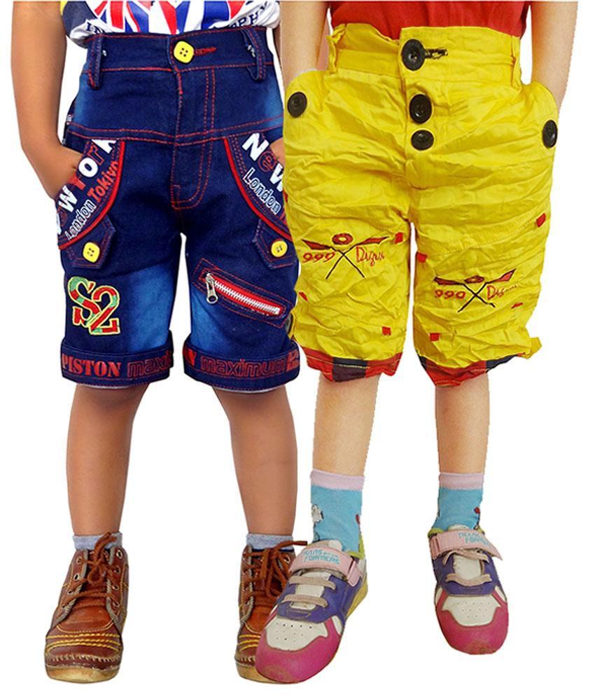 AD & AV Multicolour Cotton Shorts - Pack of 2