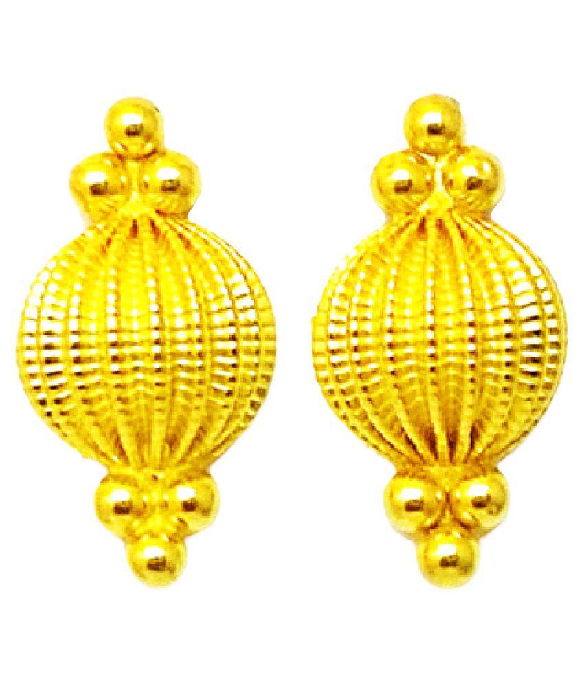 Ashree 22k 916 Bis Hallmark Pure Gold Earring Stud Tops Handmade Design