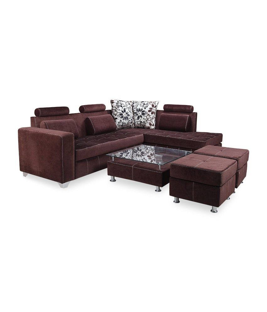 Sofa Centre Table: Crystal Furnitech Rio Camry Fabric L Shaped 5 Seater Sofa