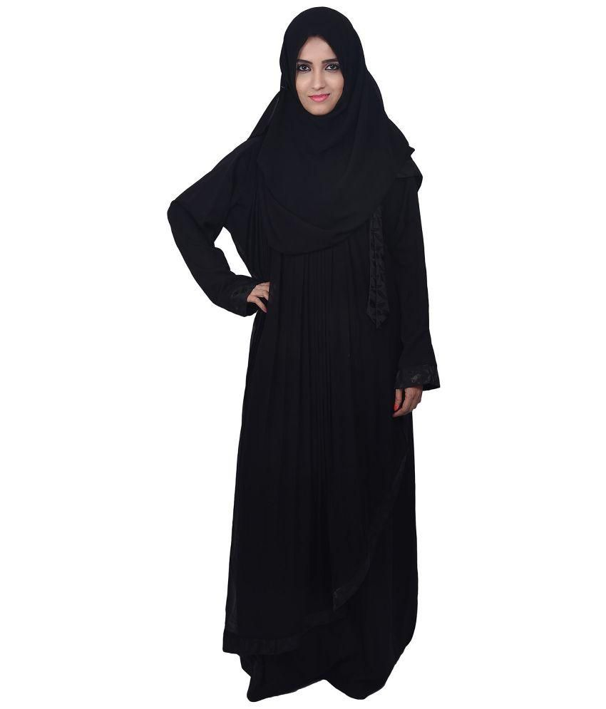 dubai abaya black stitched burqas with hijab price in india buy rh snapdeal com