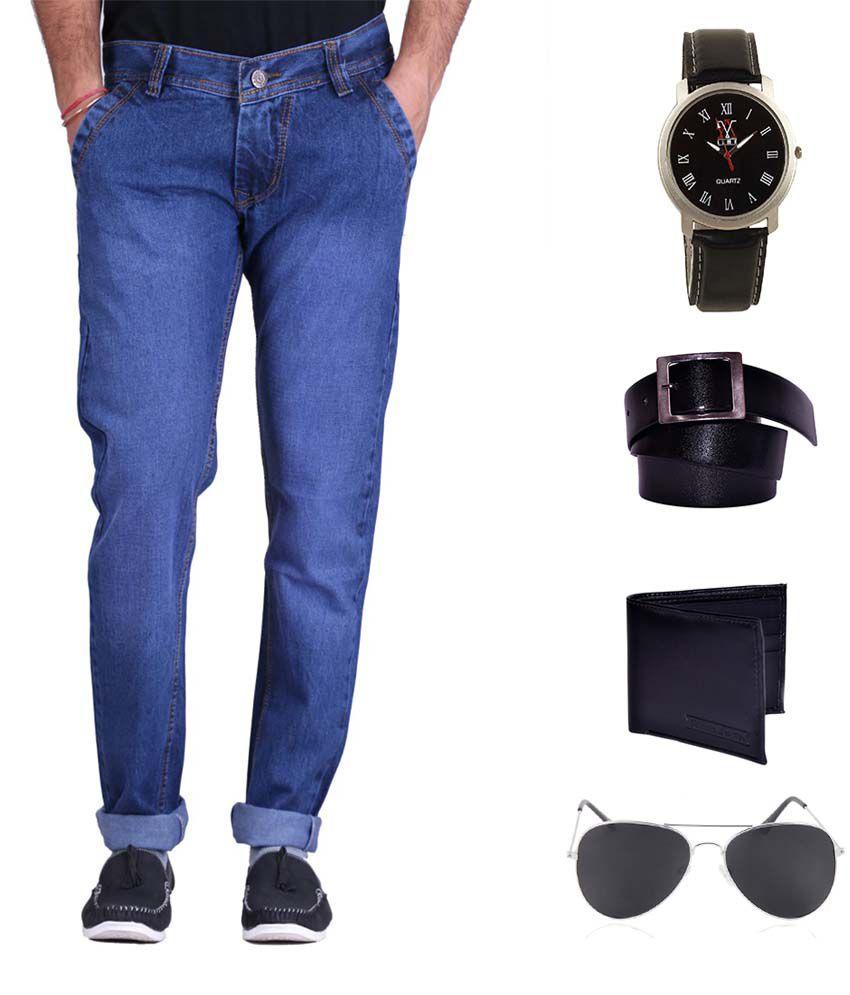 K-san Blue Slim Fit Solid Jeans