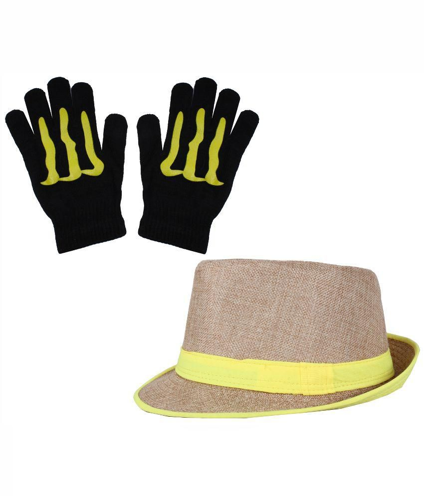 Sushito Brown Fidora Hat With Hand Gloves