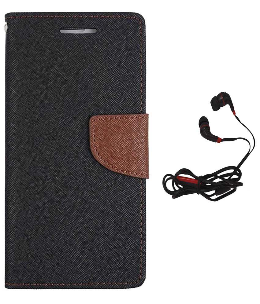 Avzax Flip Cover for Samsung Galaxy Core Prime Black with Earphones