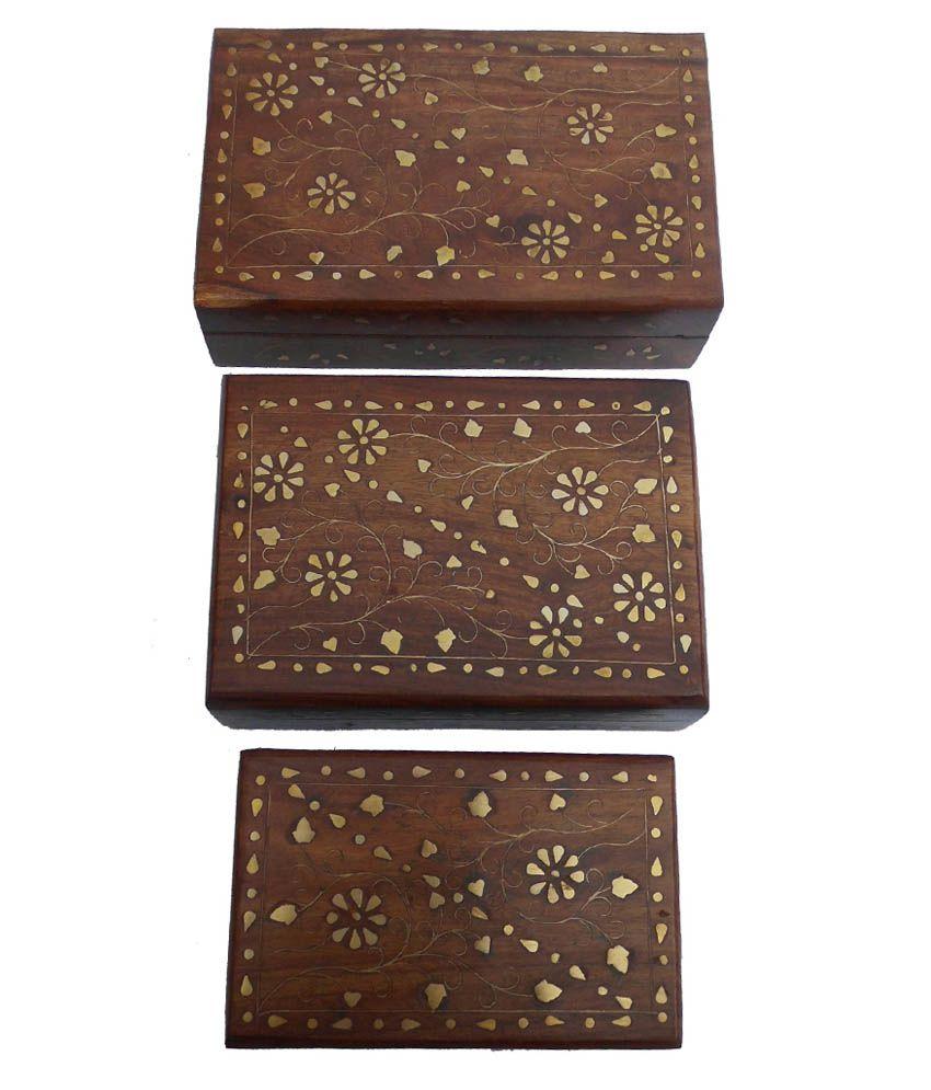 Handicraft Brown Wooden Jewellery Box - Set of 3