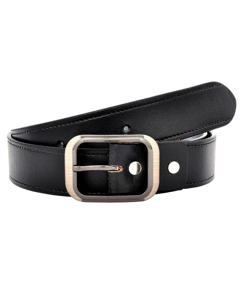 Leo Black Leather Formal Belt for Men