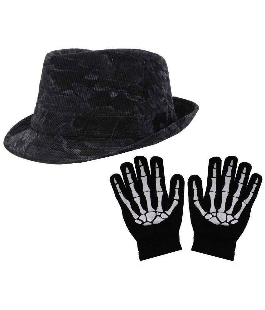 Sushito Black Velvet Hat with Hand Gloves - Set of 2