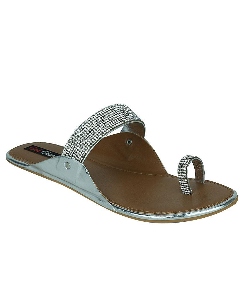 Get Glamr Silver Flat Slip-Ons