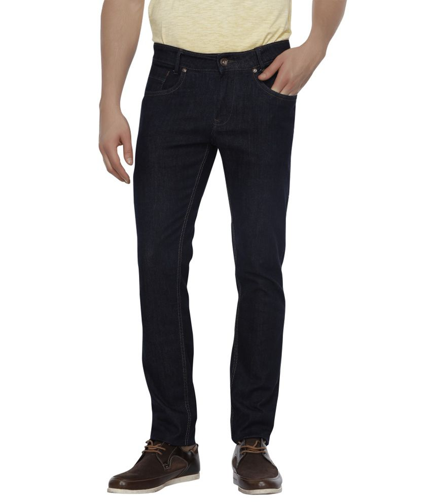 Mufti Black Slim Fit Solid Jeans