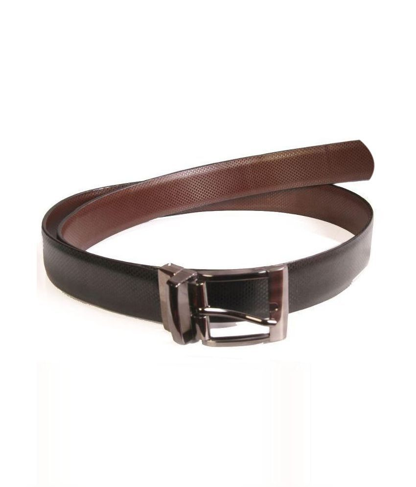 Royal Collection Black Leather Pin Buckle Reversible Belt  for Men