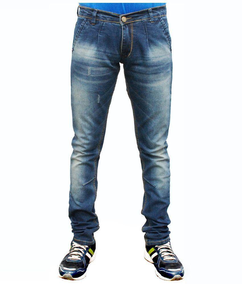Villain Blue Regular Fit Faded Jeans