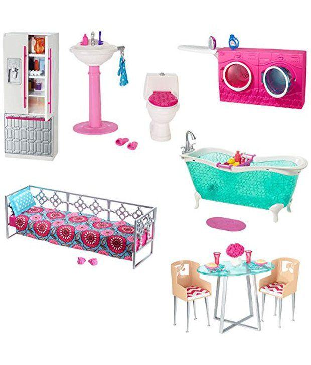 barbie doll and bathroom furniture set buy barbie doll