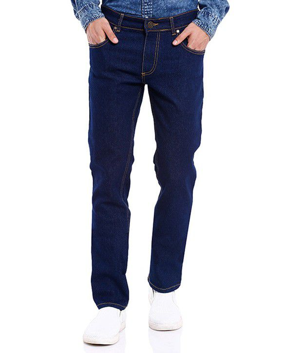 Deep Navy Blue Slim Fit Washed Jeans