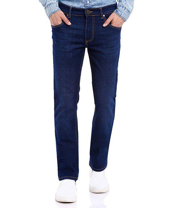Deep Navy Blue Slim Fit Washed Jeans