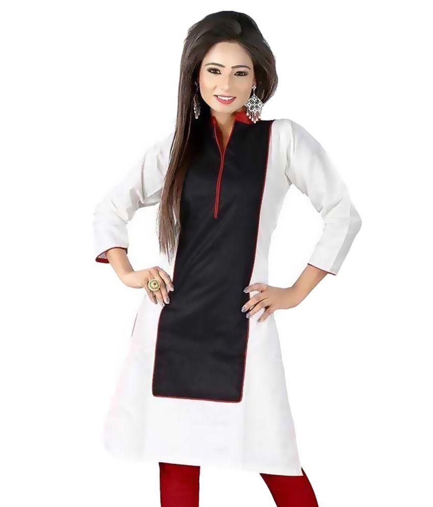 FashionUma White Cotton Straight Kurti