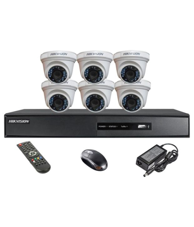 Hikvision-DS-7208HQHI-E1-8CH-Dvr,-6(DS-2CE56DOT-IR)-Dome-Camera-(With-Remote,Mouse)