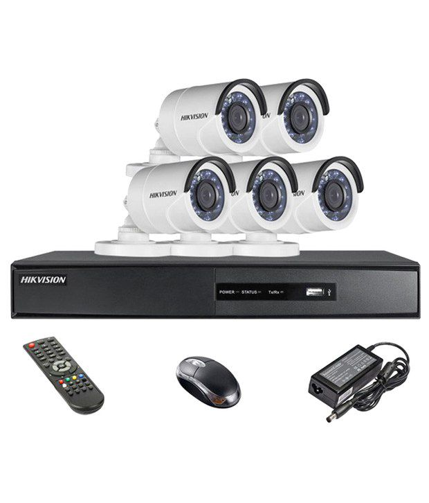 Hikvision DS-7208HQHI-E1 8CH Dvr, 5(DS-2CE16DOT-IR) Bullet Camera (With Remote,Mouse)