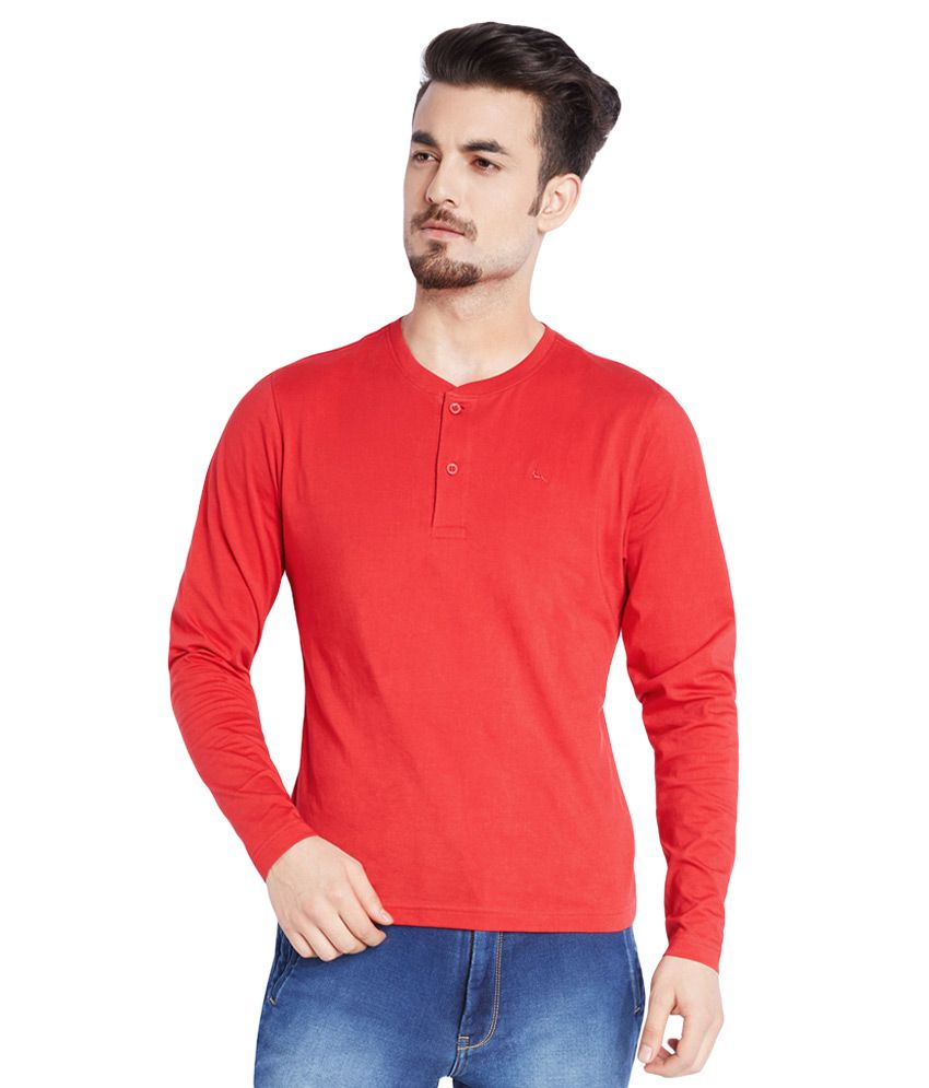 Parx Red Solid Henley T-Shirt