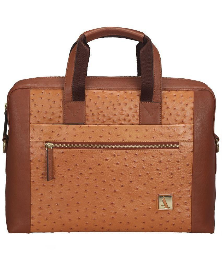 Adamis Tan Leather Laptop Bag
