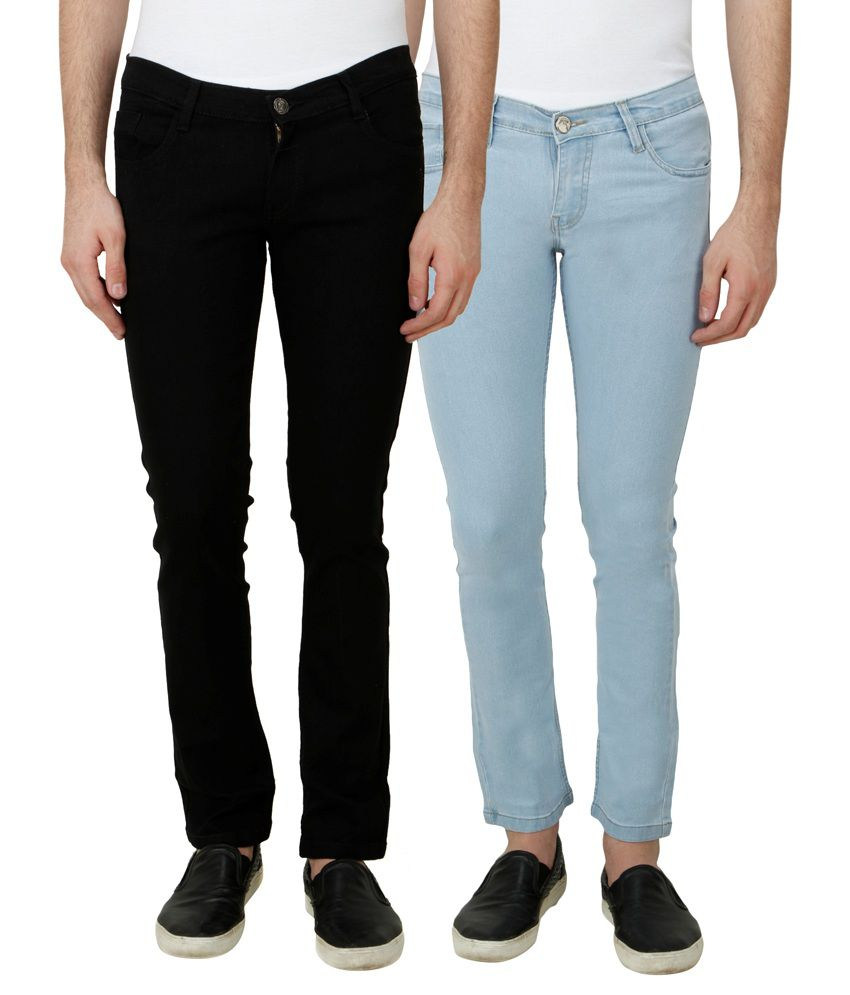 Haltung Multi Slim Fit Solid Jeans Pack of 2