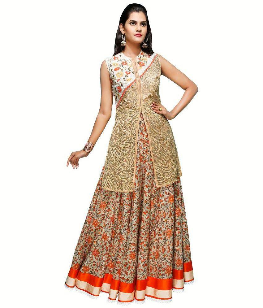 Madhus World Gold Cotton Anarkali Gown Stitched Salwar Suit