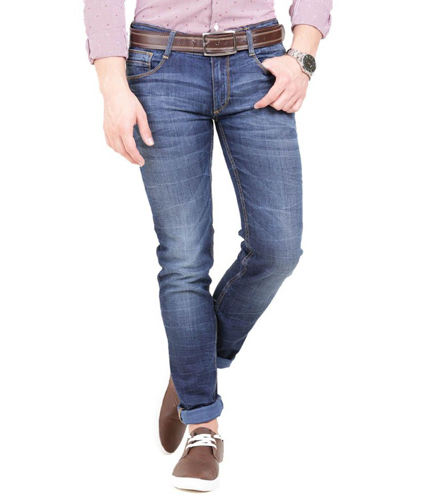 Police Blue Slim Fit Faded Jeans