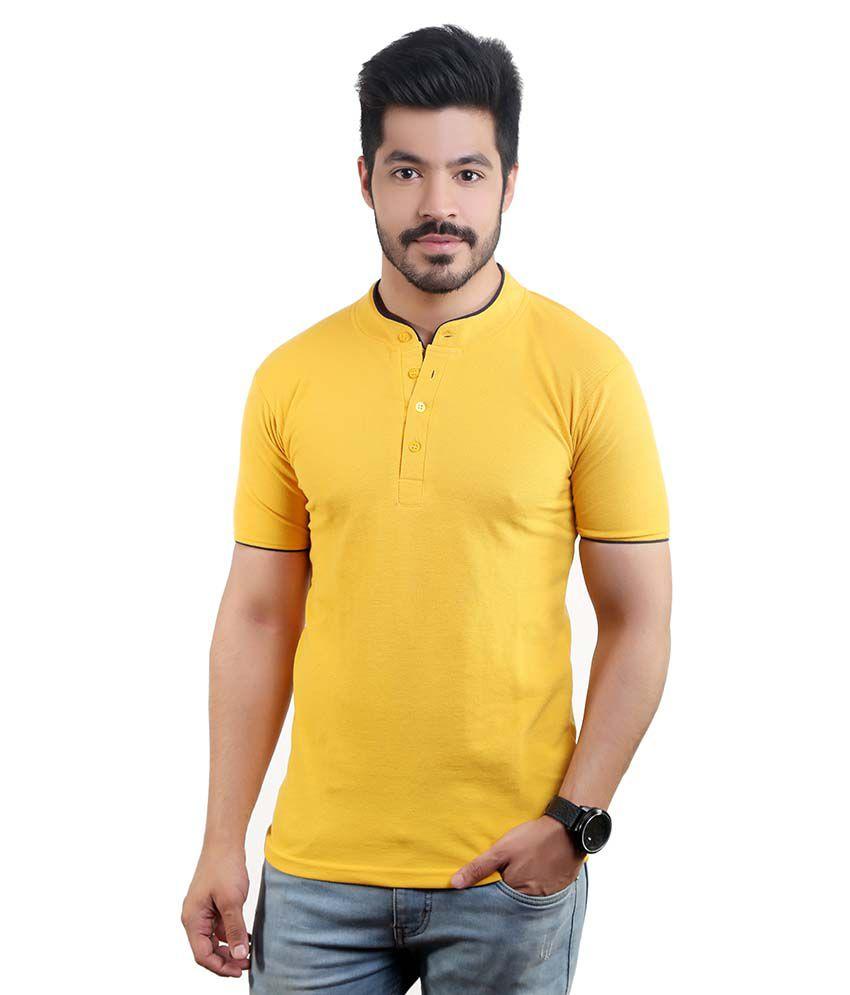 Amusant Yellow Henley T Shirt