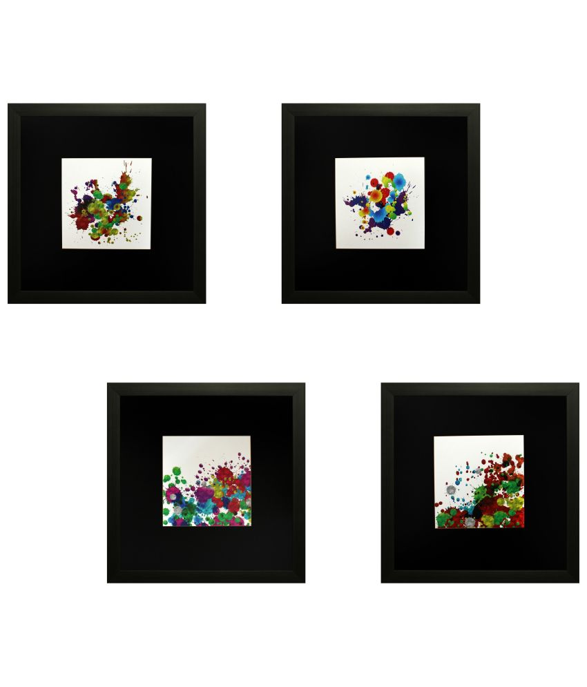 SAF Multicolour Painting with Frame - Set of 4