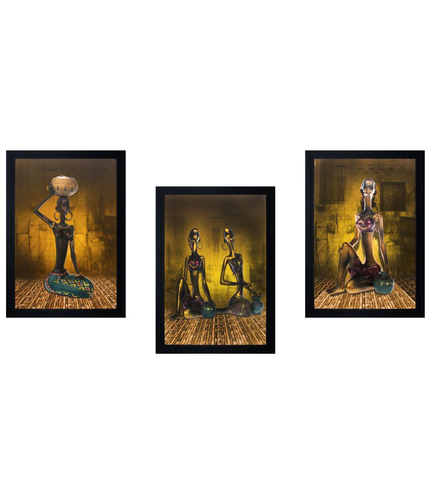 SAF Multicolour Painting with Frame - Set of 3