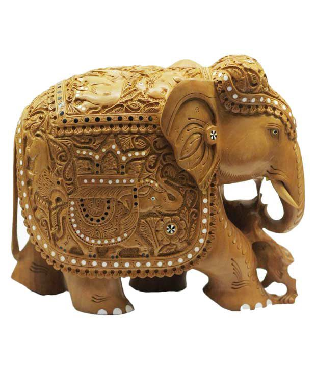 Indian Arts Museum Brown Wooden Cedar Fancy Elephant Sculpture Showpiece