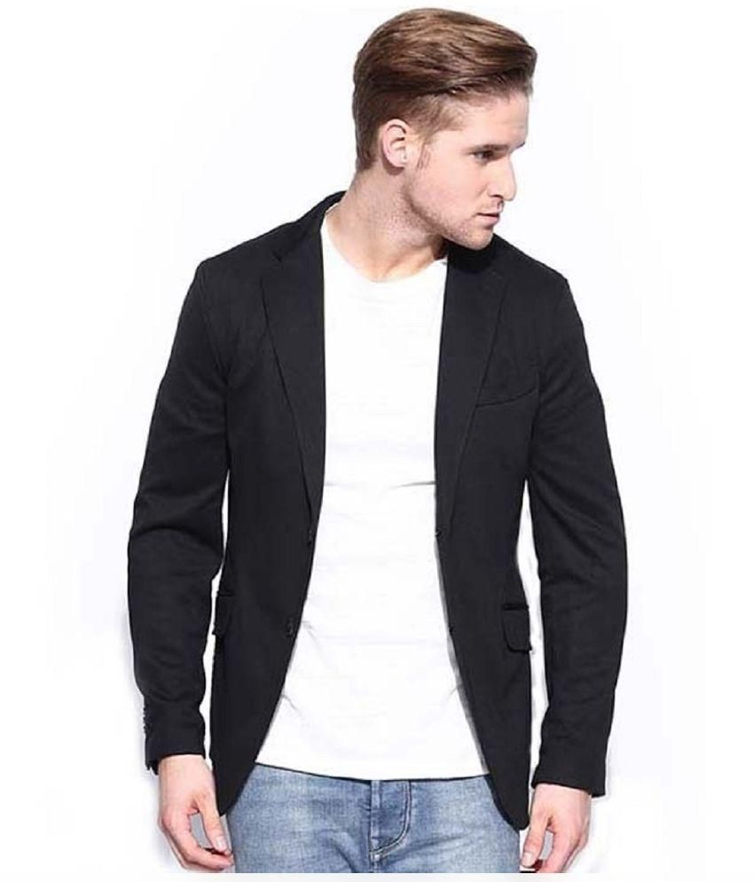 Royal Black Casual Blazers