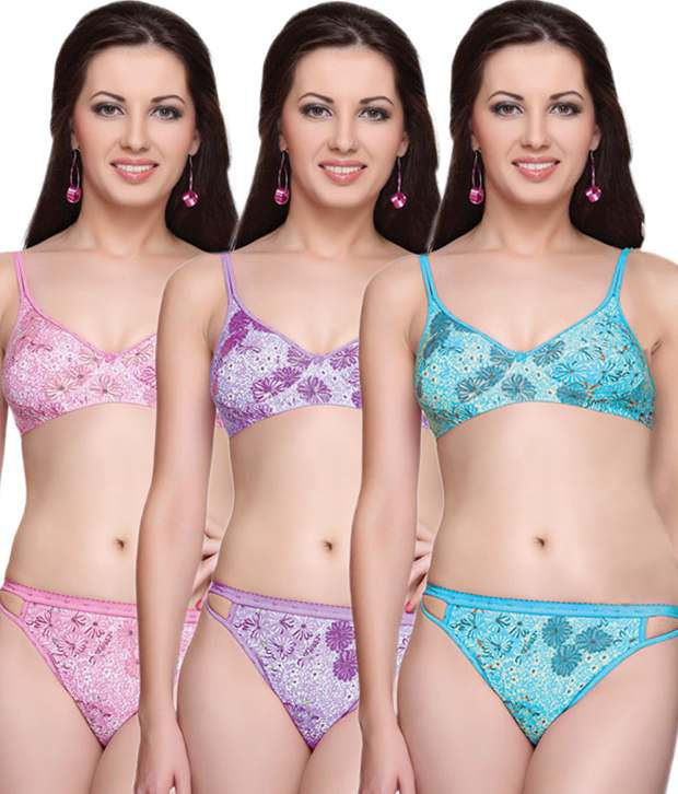 fc92ef1513edb Buy Vanila Multi Color Cotton Bra  Sets Pack of 3 Online at Best Prices in  India