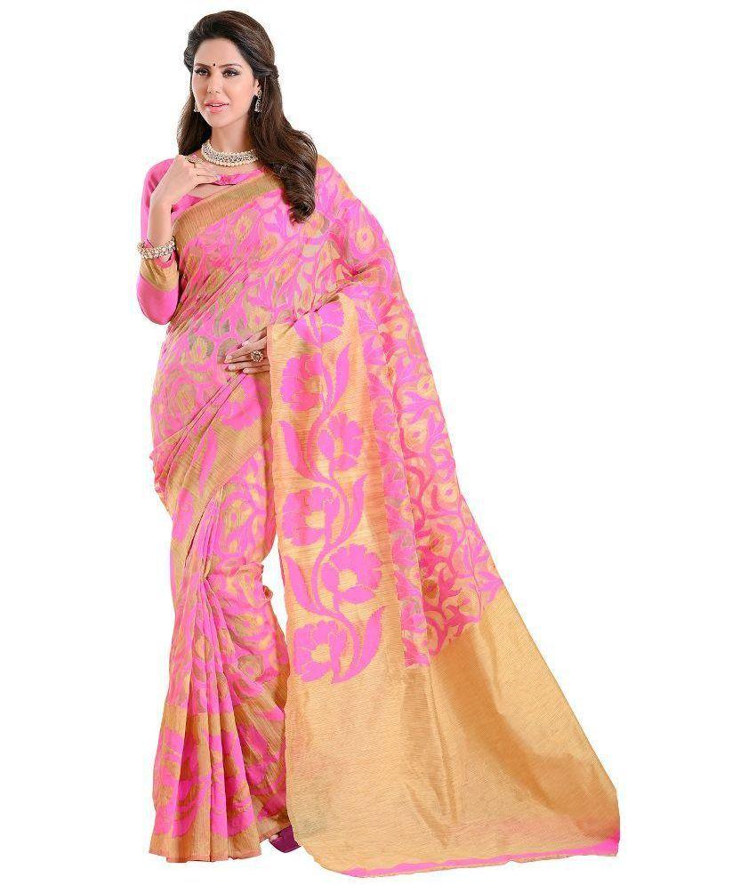 Aara Trendz Pink Cotton Saree