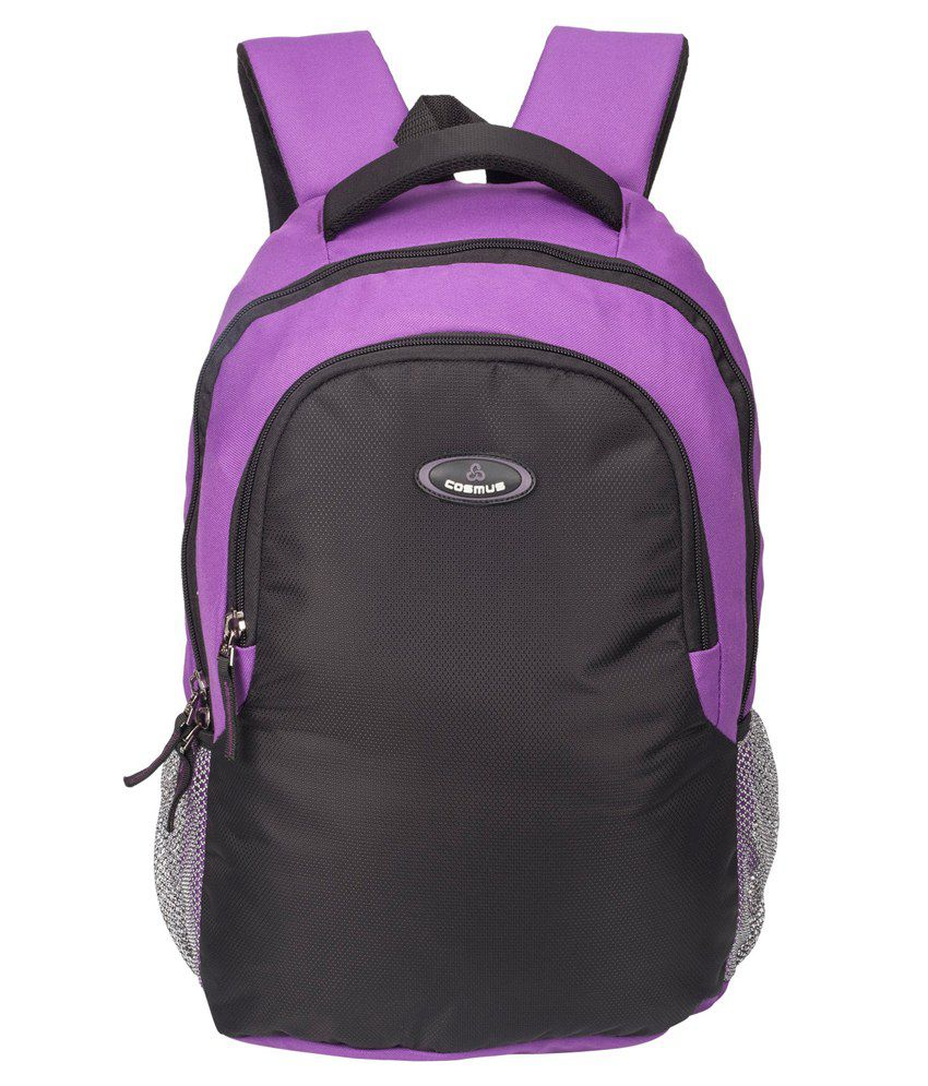 Cosmus Enterprises Black and Purple Polyester Laptop Backpack
