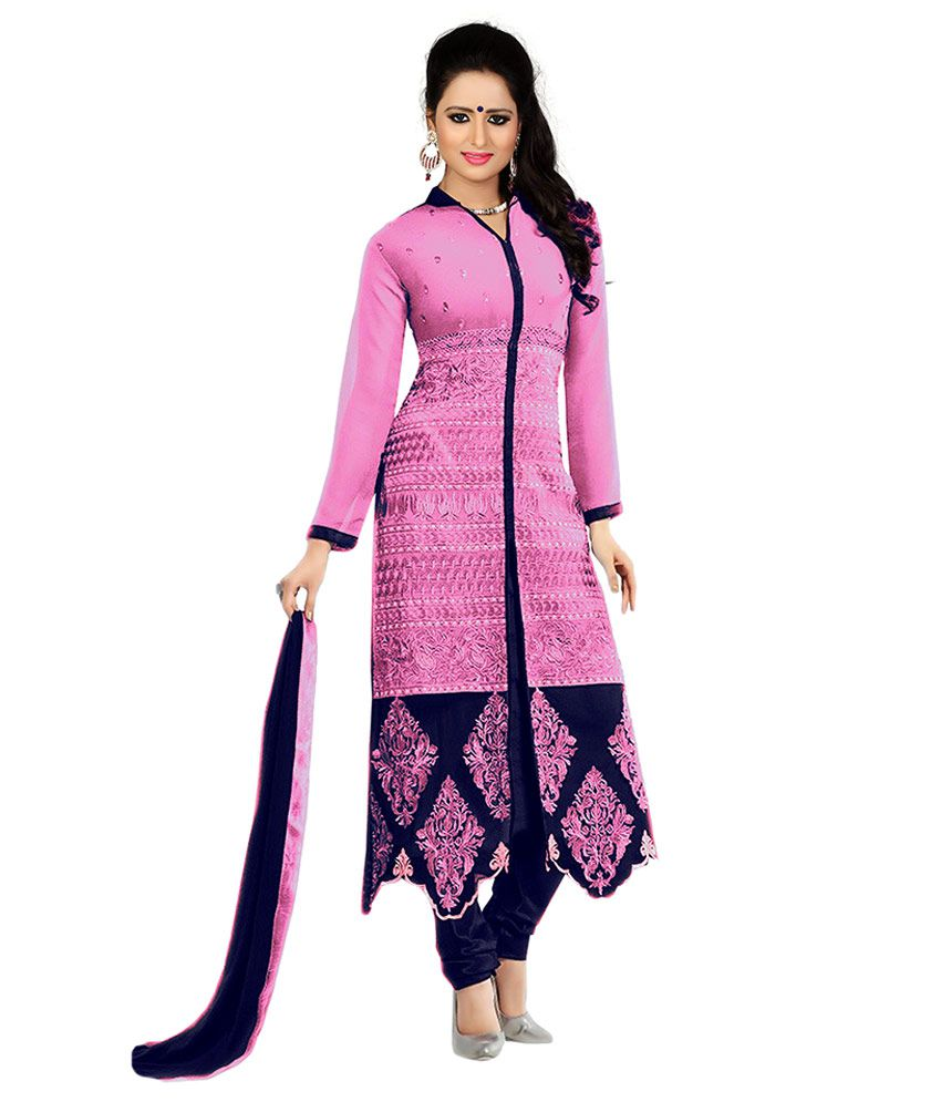 DHRUVA FAB Pink Georgette Straight Unstitched Dress Material