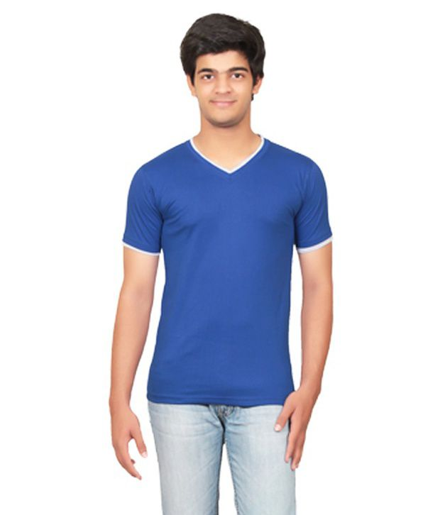 Graceful Blue V-Neck T Shirt