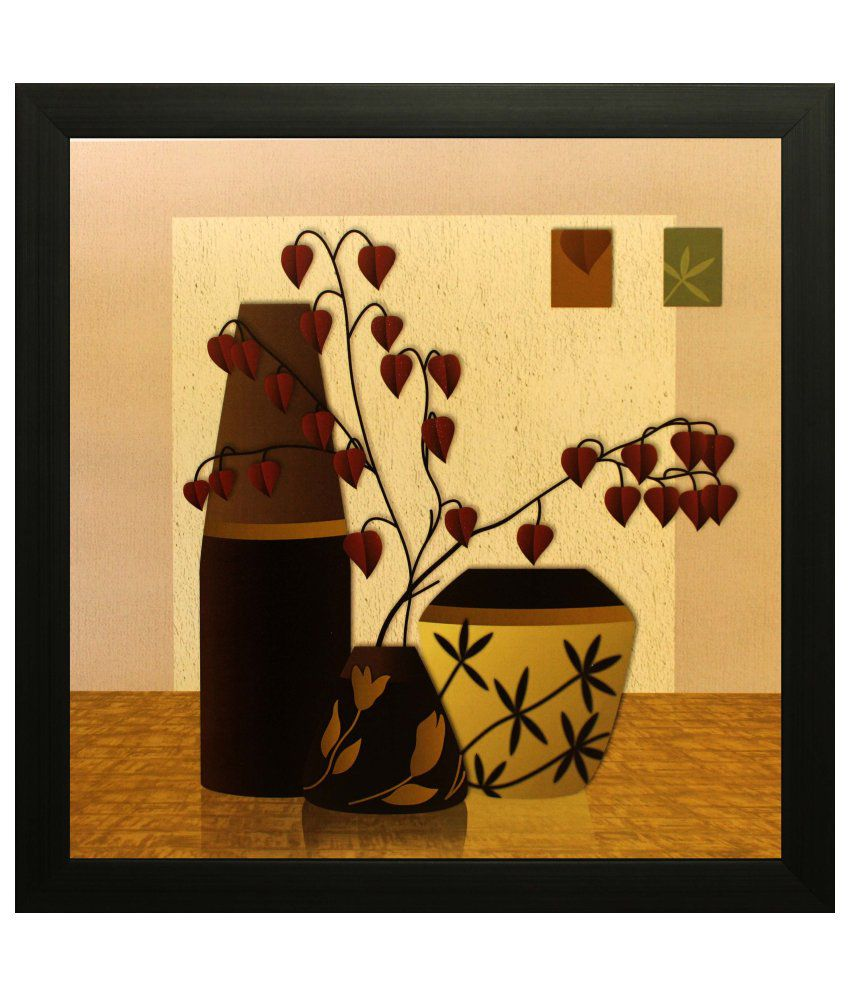 SAF Textured Wood Floral Painting with Frame