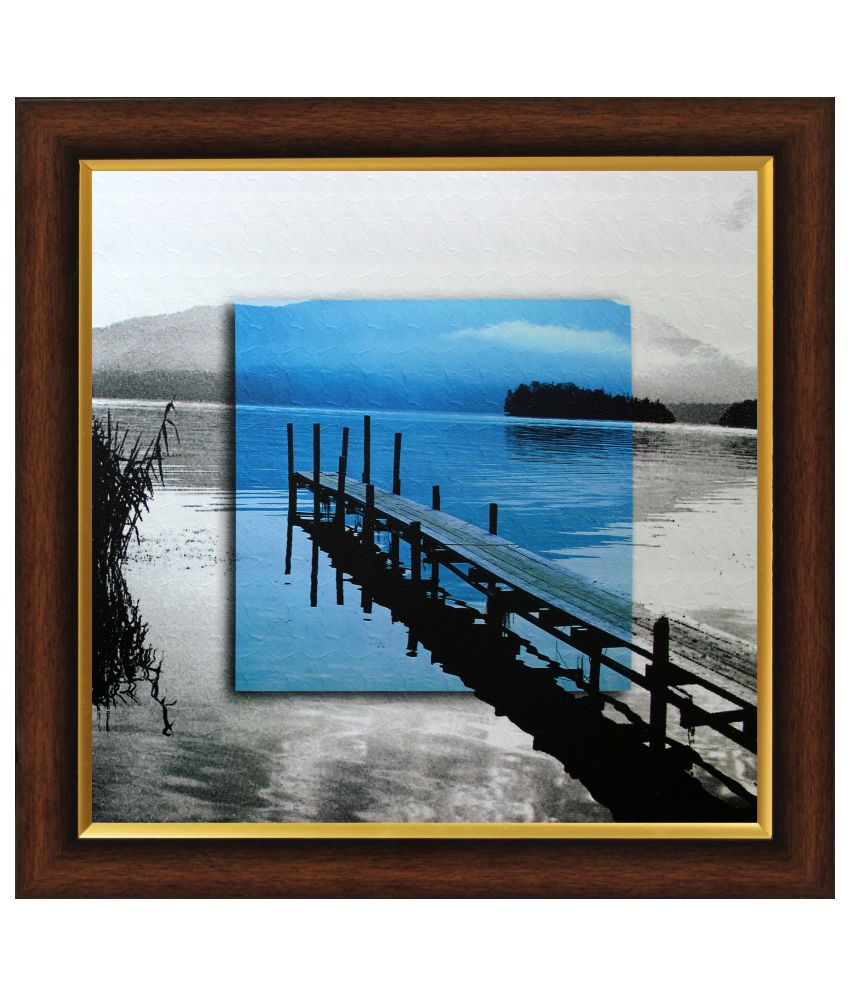 SAF Textured Wood Landscape Painting with Frame