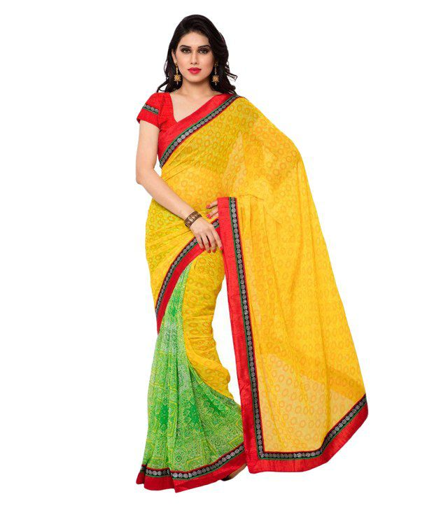 Apple Creation Yellow Georgette Saree