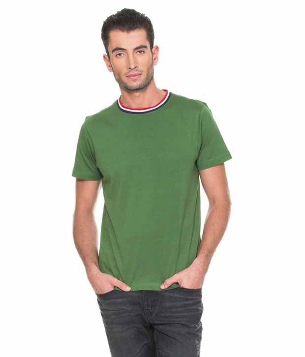 SK Garments Green Round T Shirt