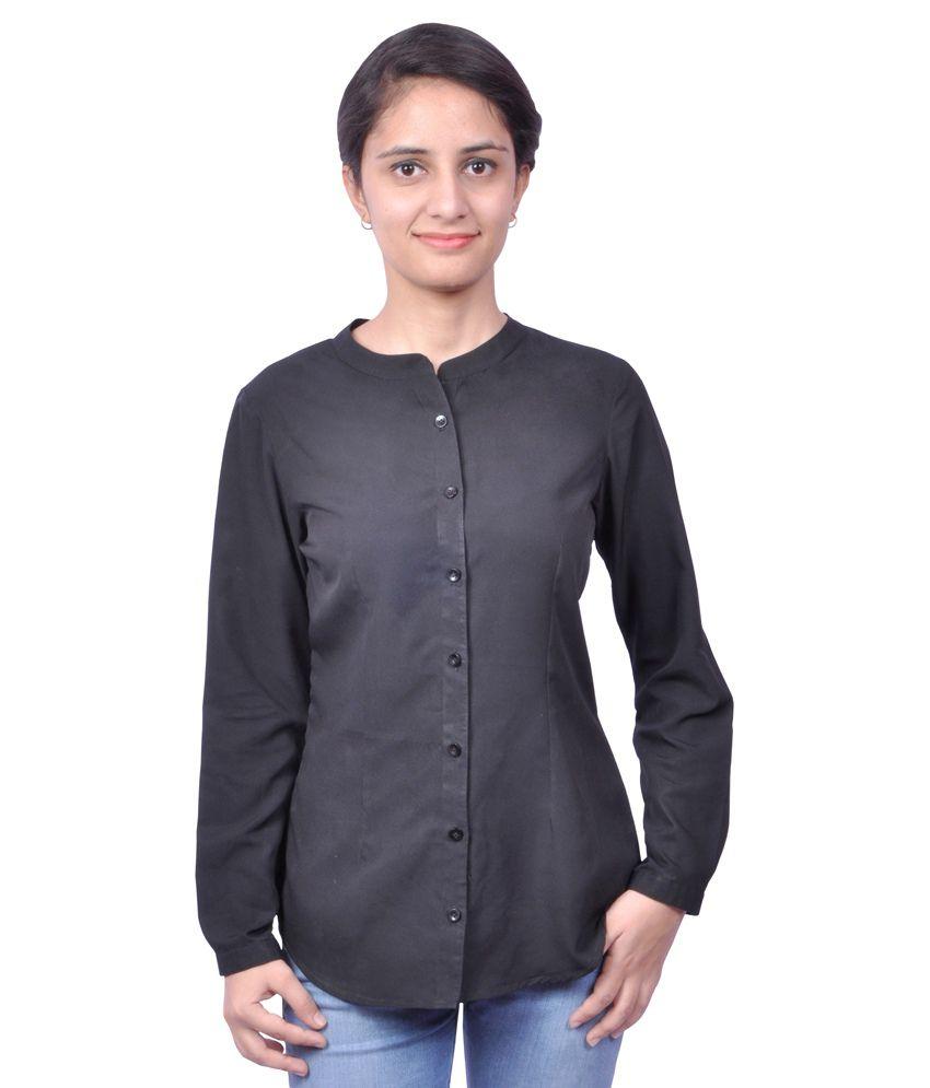 Tiara Of Suman Black Poly Crepe Shirts