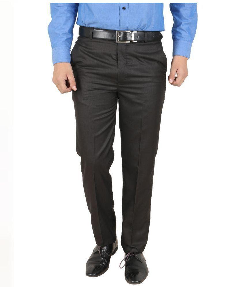68 Back Brown Regular Fit Flat Trousers