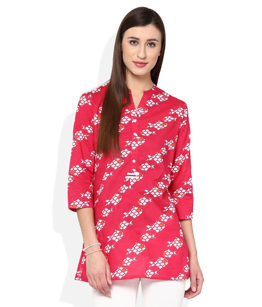 Akkriti By Pantaloons Fuchsia Pink Cambric Printed Kurti
