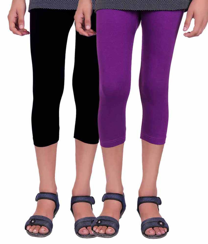 Alisha Multicolor Capri For Girls - Pack Of 2