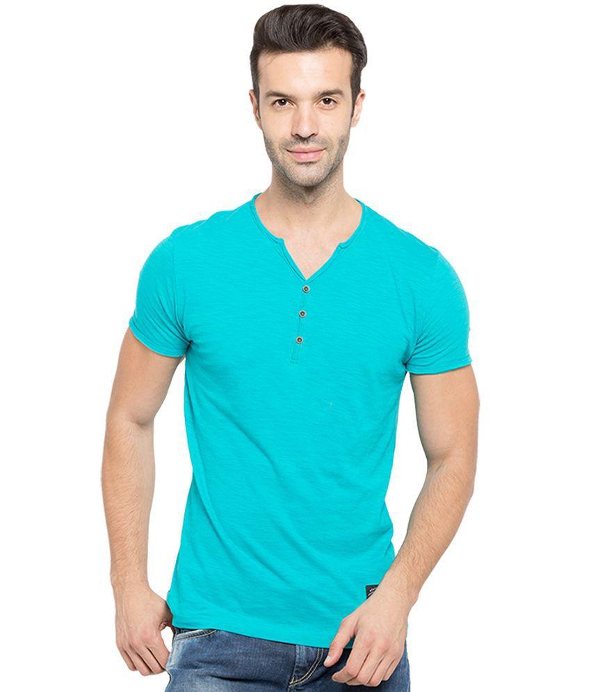 Status Quo Turquoise V-Neck T Shirt