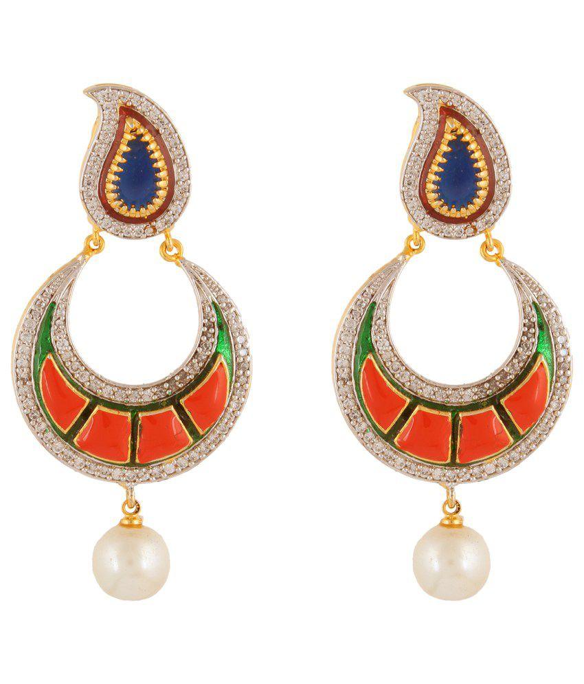 Fasherati Multicolour Brass Drop Earrings