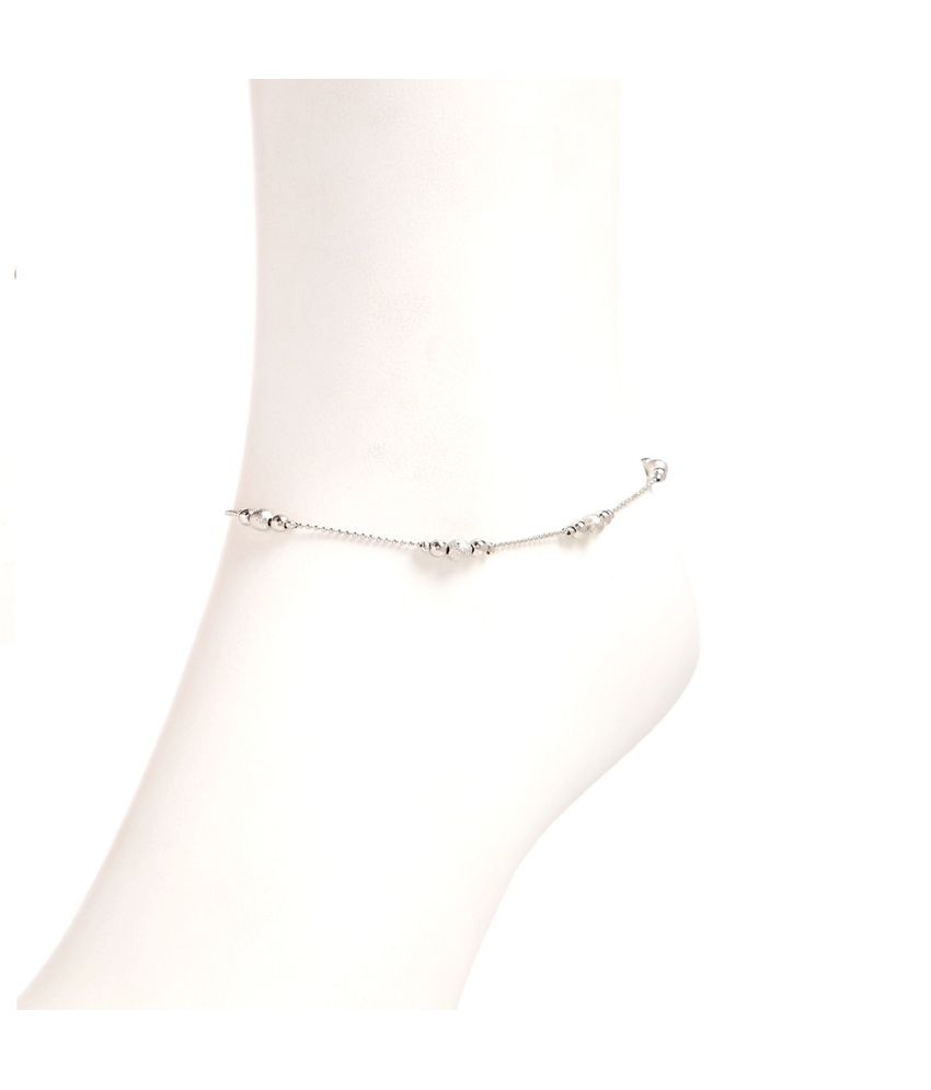 GoldNera Silver Alloy Pair of Anklets