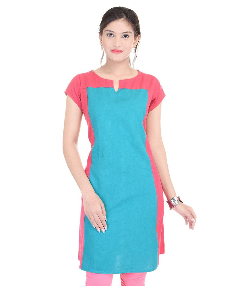 Heritage Jaipur Blue Cotton Straight Kurti